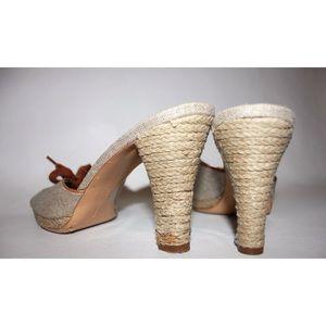 Salvatore Ferragamo Shoes - Ferragamo Metallic Canvas Espadrille Heeled Mule